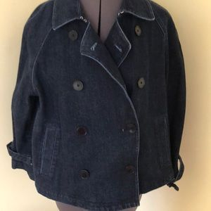 Cropped denim peacoat